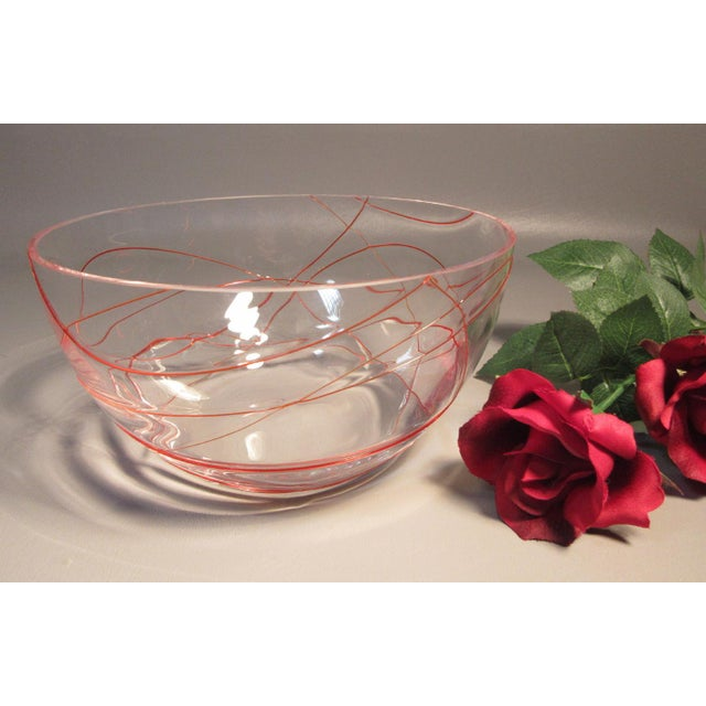 Murano Studio Art Glass Ruby Red Threaded Glass Bowl For Sale In Providence - Image 6 of 7