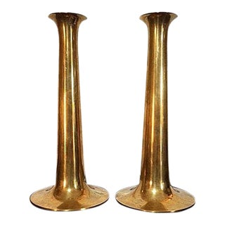 1960s Vintage T. Orskov Danish Hans Bolling Brass Candlesticks - a Pair For Sale