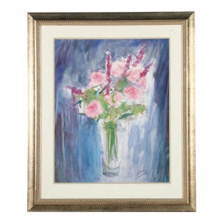 Floral Still Life Offset Lithograph on Paper