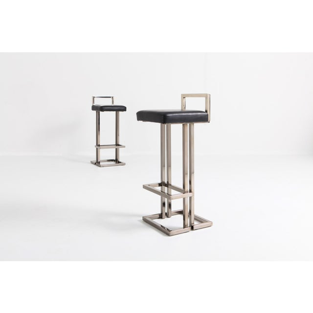 1970s Maison Jansen Chrome and Black Leather Bar Stools For Sale - Image 5 of 9