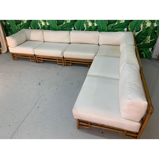 1970s Ficks Reed Rattan Chinoiserie Sectional Sofa For Sale - Image 5 of 12