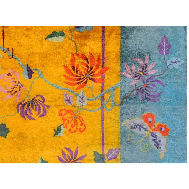 Yellow Vivid Early 20th Century Chinese Art Deco Rug For Sale - Image 8 of 12