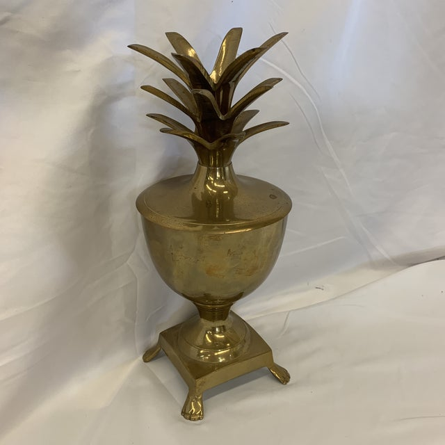 Hollywood Regency Brass Pineapple Candle Stick Vessel For Sale - Image 3 of 12
