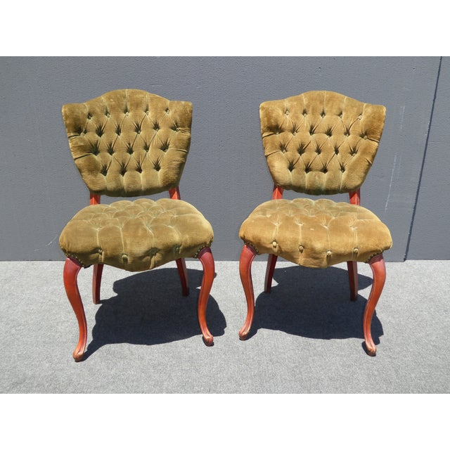 French Provincial Tufted Velvet Chairs - Pair - Image 2 of 11