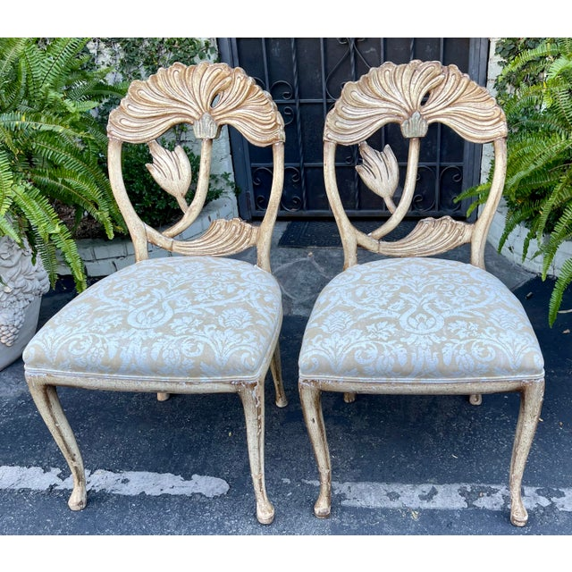 Vintage Fortuny Upholstered Carved Italian Grotto Chairs - a Pair. Elegant carved and paint decorated flower form backs....