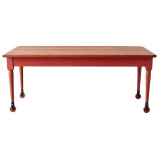 Painted American Farmhouse Style Dining Table on Casters For Sale