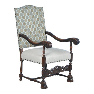 20th Century Antique Danish Baroque Carved Armchair For Sale