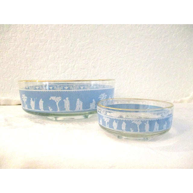 Metal Mid-Century Blue Grecian Bowls- A Pair For Sale - Image 7 of 7