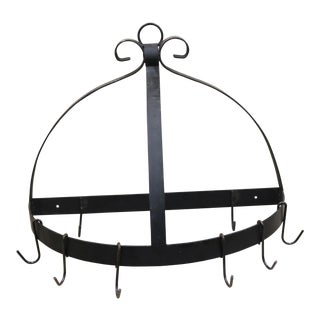 Vintage French Triangle Wrought Iron Pot Rack For Sale