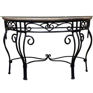Contemporary Iron and Glass Console Table For Sale