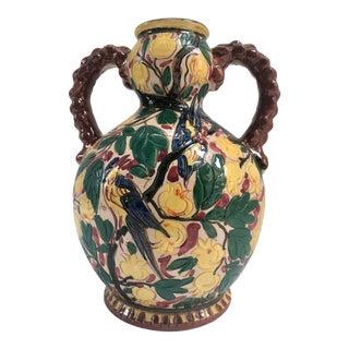 Vintage Italian Monteluce Deruta Olive Oil Jug Vase For Sale