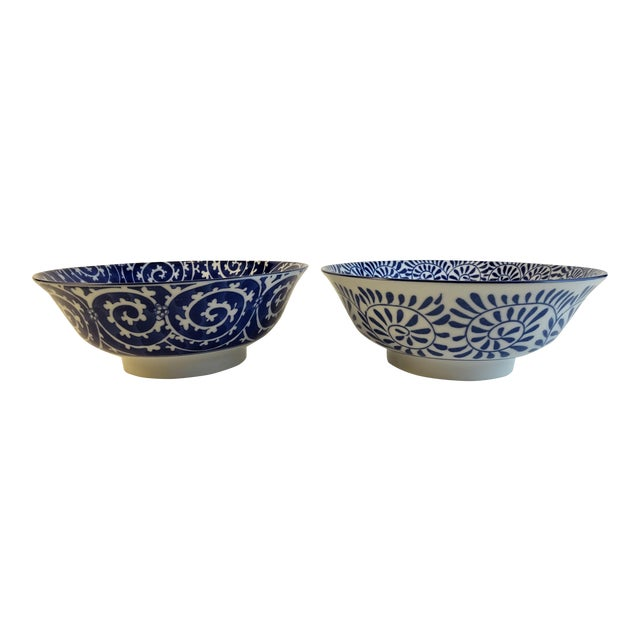 Chinoiserie Blue & White Serving Bowls - A Pair For Sale