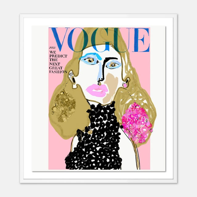 Contemporary Vogue Cover July 1966 by Annie Naranian in White Frame, Small Art Print For Sale - Image 3 of 3