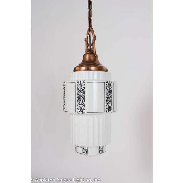 Metal Restored Art Deco Milk Glass Pendant With Copper Fixture For Sale - Image 7 of 8