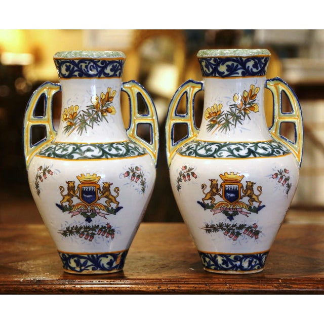 19th Century French Hand Painted Faience Vases Signed Hr Quimper - a Pair For Sale In Dallas - Image 6 of 11