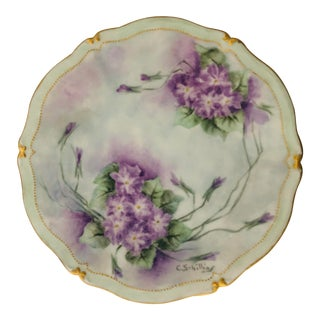 Elegant Hand Painted French Limoges Signed by the Artist Purple & Green Floral Plate For Sale