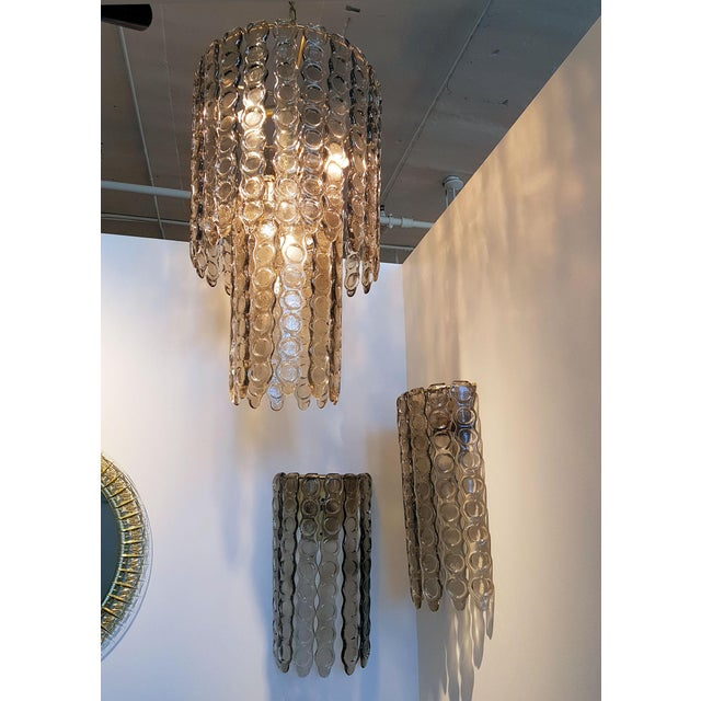 Large Murano Smoked Glass Chandelier Mid Century Modern, Mazzega Style For Sale - Image 4 of 7