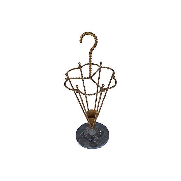 Art Nouveau 1950s Italian Gilt Umbrella Stand For Sale - Image 3 of 6