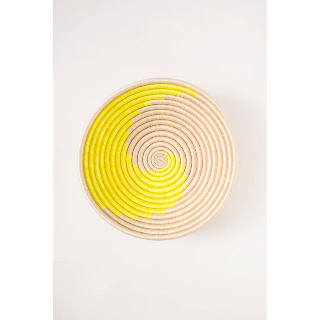 Contemporary Indego Africa Handwoven Citron Swirl Plateau Basket For Sale - Image 3 of 3
