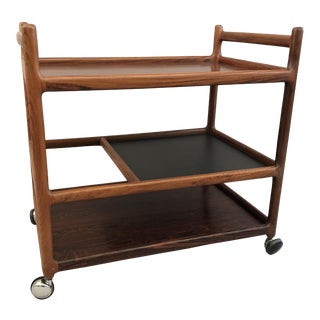 Johannes Andersen Rosewood Bar Cart For Sale