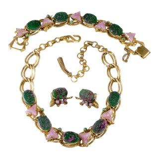 German Art Glass Green Pink Purple Necklace Bracelet Earrings Set For Sale