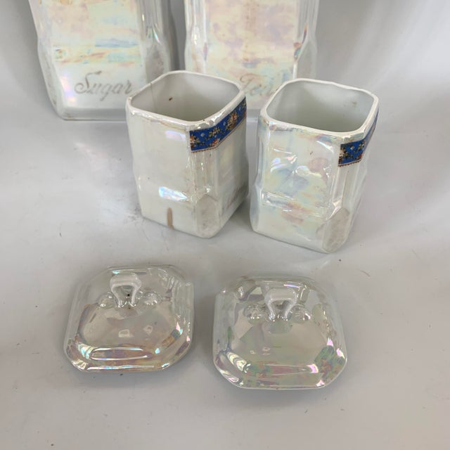 Art Nouveau Victoria Czech Slovakia Luster Ware Canisters Jars Iridescent Set For Sale - Image 9 of 13