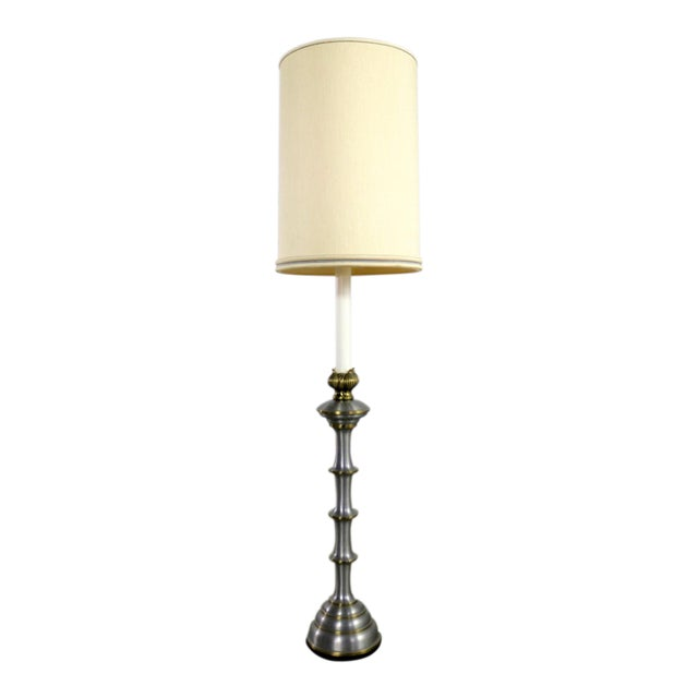 Stiffel Tall Table Lamp or Low Floor Lamp Mid Century Brass and Brushed Stainless Steel For Sale