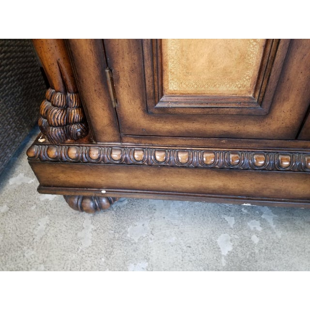 Traditional Black Faux Marble Top Buffet with Lion Motif Corner Pillars For Sale - Image 9 of 10
