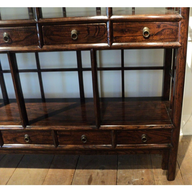 Large Antique Chinese Solid Wood Multi Drawer Etagere - Image 3 of 11