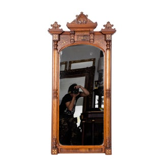 Victorian Style Carved Mahogany Wood Hanging Mirror For Sale