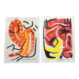 Red and Black Abstract Set of Two Mini Paintings For Sale