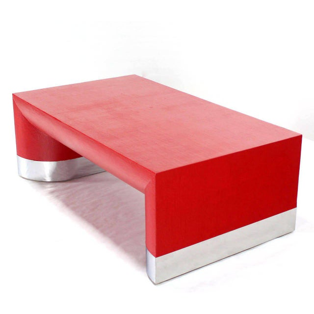 Mid 20th Century Large Rectangle Grass Cloth Mid-Century Modern Coffee Table in Fire Red For Sale - Image 5 of 8