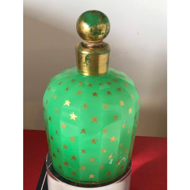 19th Century 19th Century Baccarat Green Opaline With Gold Stars Perfume Bottle For Sale - Image 5 of 6