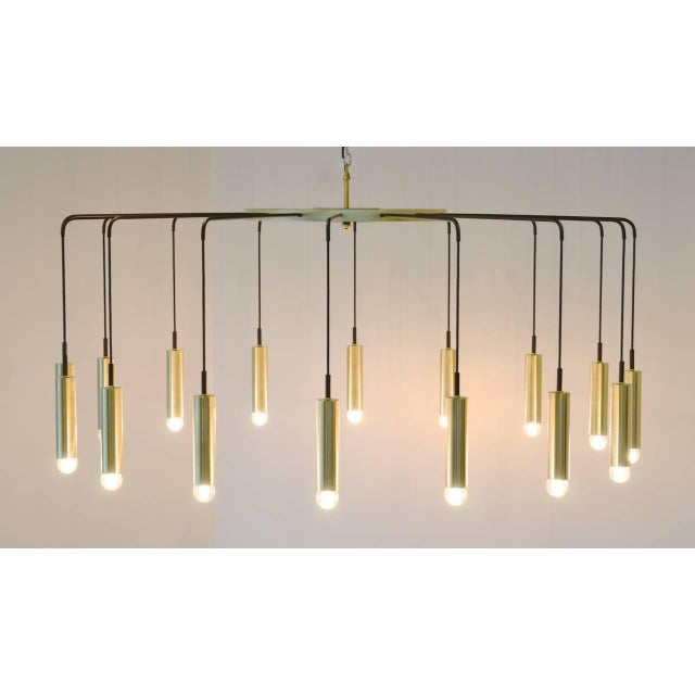 Brass and Steel Modern Spider Chandelier For Sale - Image 4 of 11