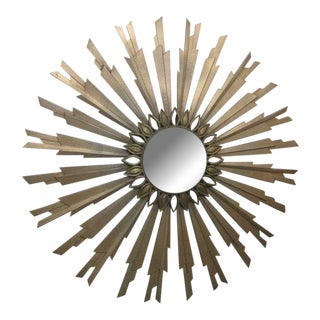Mid Century Gold Sunburst Mirror For Sale