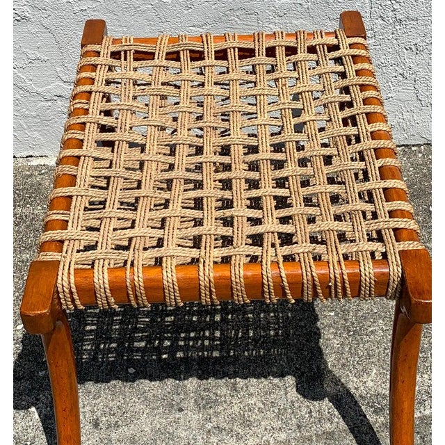 Vintage Klismos Mahogany and Woven Rope Bench, in the Manner of Robsjohn-Gibbons For Sale In West Palm - Image 6 of 11