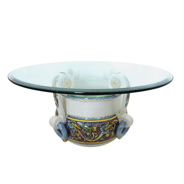 1980s Magnificent Vintage Italian/Sicilian Ceramic Jardiniere, Planter or Coffee/Side Table For Sale - Image 5 of 7