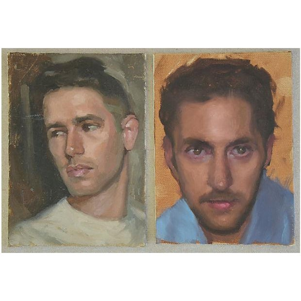 Set of two vintage portrait oil paintings on artist canvas board, unframed and unsigned. Hanging wire/hardware not included.