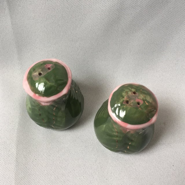 Cottage Hand Painted Rose Bud Salt and Pepper Shakers For Sale - Image 3 of 6