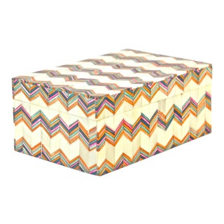 Inlaid Bone Chevron Box For Sale