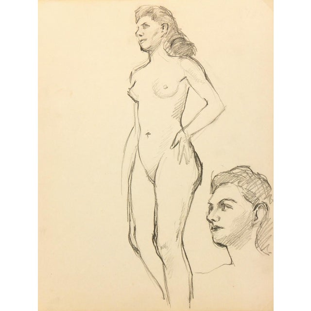 Nude Graphite Drawing by Jean Ernst, C. 1940 - Image 1 of 3