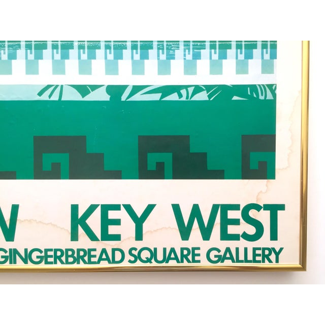"""Blue Vintage 1980 """" Gary Shaw Key West """" Tropical Botanical Lithograph Print Framed Exhibition Poster For Sale - Image 8 of 13"""