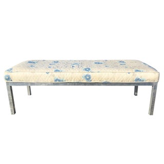 Mid Century Modern Brushed Aluminum Cushion Top Bench For Sale