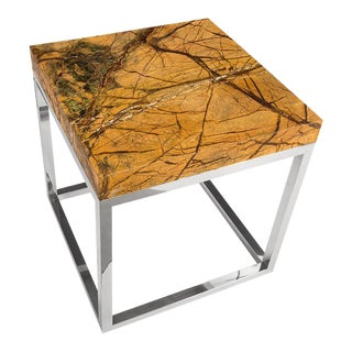 Phillips Collection Marble Acid Wash Side Table, Stainless Steel For Sale