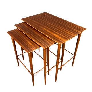 Vintage Danish Mid Century Modern Mahogany Nesting Tables - Set of 3 For Sale