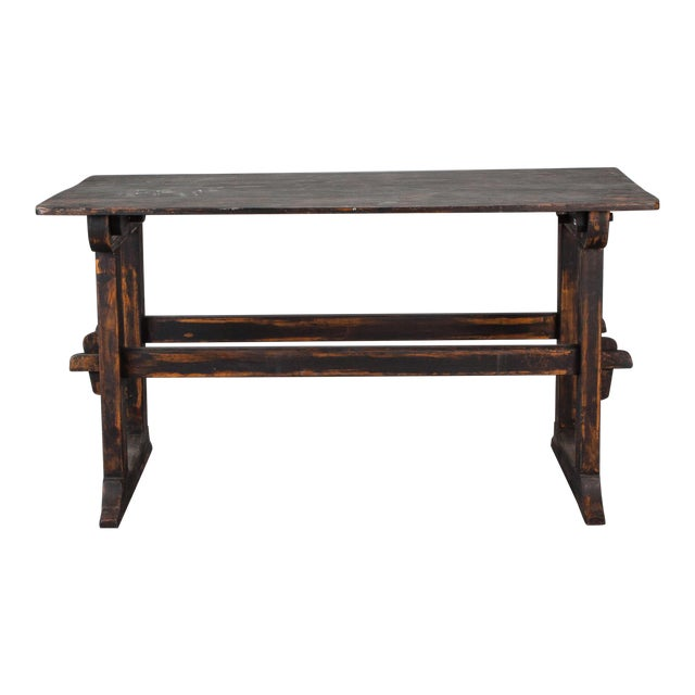 18th Century Swedish Trestle Table with Black Finish For Sale