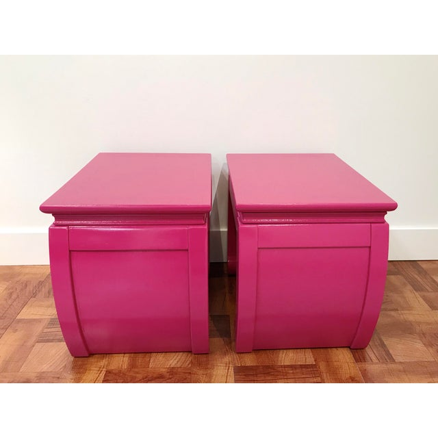 Asian Ming Style Pink Chow Leg Side Tables/Low Stools - a Pair For Sale - Image 3 of 8