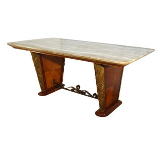 1940s Italian Mid-Century Table With Honey Onyx Top For Sale