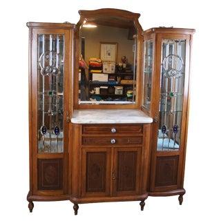 19th Century Oak Buffet Double Curio Bar For Sale