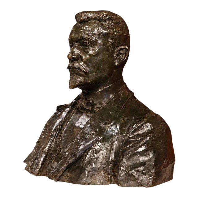 """Large 20th Century French Bronze Bust Signed """"A. Descatoire"""", 1913 - Image 1 of 8"""
